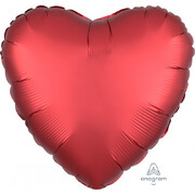Satin Sangria Red 17in. Heart Foil Balloon Pk 1