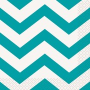 Caribbean Teal Chevron Lunch Napkins Pk 16