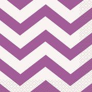 Purple Chevron Cocktail Napkins Pk 16