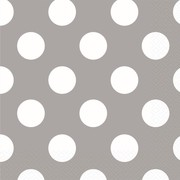 Silver 2 Ply Cocktail Napkins with White Polka Dots Pk 16