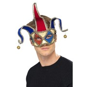 Red & Blue Venetian Musical Jester Mask with Bells Pk 1