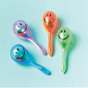 Assorted Smile Face Mini Maraca Party Favours Pk 12