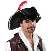 Pirate Buccaneer Black Hat with Gold Trim & Red Feather Pk 1