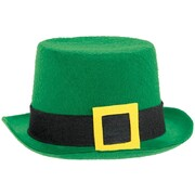 St. Patrick's Day Green Felt Top Hat with Felt Buckle Pk 1