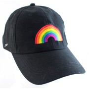 Black Cap Hat with Embroidered Rainbow Pk 1