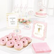 1st Birthday Pink Buffet Decorating Kit (Picks & Cards) Pk 1