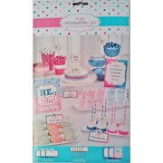 Baby Shower He or She Picks & Cards Customisable Buffet Decorating Kit Pk 1
