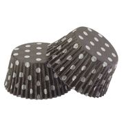 Black Paper Cupcake Cases with White Polka Dots Pk 20