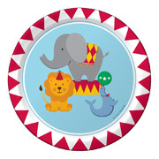 Circus Time Paper Plates (7in-17cm) Pk 8