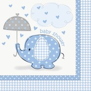 Blue Umbrellaphants 2ply Lunch Napkins (Baby Shower) Pk 16