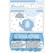 Blue Umbrellaphants Baby Shower Balloons (12in) Pk 8