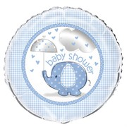 Blue Umbrellaphants 18in Baby Shower Foil Balloon Pk 1