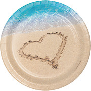 Beach Love 7in. Paper Plates Pk 8