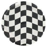 Plates 7in Black Check Pk8