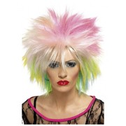 80's Attitude Multi Coloured Short Spiky Wig Pk 1
