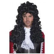 Long Black Curly Pirate Captain Wig Pk 1