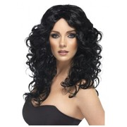 Long Black Curly Glamour Wig Pk 1