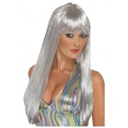 Long Straight Silver Disco Wig with Fringe Pk 1