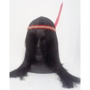 Long Black Indian Brave Wig with Feather Headband Pk 1