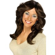 70s Flick Style Long Brown Wig Pk 1