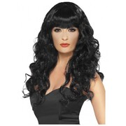 Black Curly Siren Long Wig Pk 1