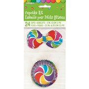 Rainbow Swirl Cupcake Kit with Toppers Pk 24