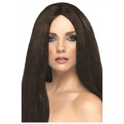 Long Brown Straight Star Style Wig Pk 1