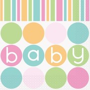 Pastel Baby Shower Dots & Stripes 2 Ply Lunch Napkins Pk 16