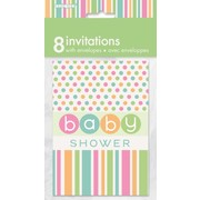 Pastel Baby Shower Dots & Stripes Invitations Pk 8