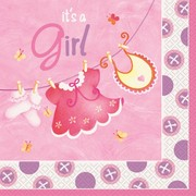 It's A Girl Pink Baby Shower 2 Ply Lunch Napkins Pk 16