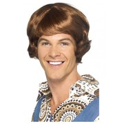 Brown Mullet Wig (Disco) Pk 1