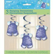 It's A Boy Blue Overalls Baby Shower Hanging Swirl Decorations Pk 3