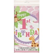 1st Birthday Girl Pink Safari Plastic Tablecover (137cm x 213cm) Pk 1