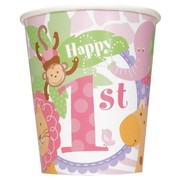 1st Birthday Girl Pink Safari 9oz. Paper Cups Pk 8