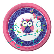 Owl Pal Birthday Paper Plates (9in-22cm) Pk 8