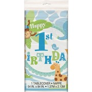 1st Birthday Boy Blue Safari Plastic Tablecover (137cm x 213cm) Pk 1