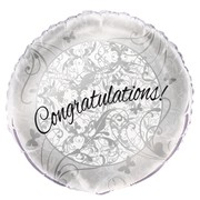 Silver Congratulations Foil Balloon Foil 18in Pk1