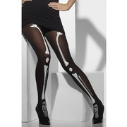 Black Tights with Skeleton Print Pk 1