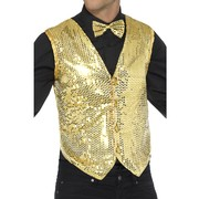Adult Male Gold Sequin Waistcoat Vest (Medium, 38-40) Pk 1 (VEST ONLY)