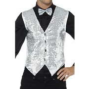 Adult Male Silver Sequin Waistcoat Vest (Small, 34-36) Pk 1 (VEST ONLY)