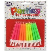 Candles Neon with Holders Pk24 (Assorted Colours)