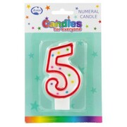 Candles Numeral Red and White #5 Pk1