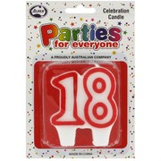 Candles Numeral Red and White #18 Pk1