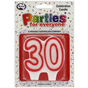 Candles Numeral Red and White #30 Pk1