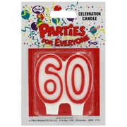 Candles Numeral Red and White #60 Pk1