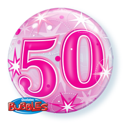 50 Pink Starburst Sparkle Bubble Balloon (22in.) Pk 1