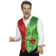 Adult Male Red & Green Sequin Elf Waistcoat Vest (Large, 42-44) Pk 1 (VEST ONLY)