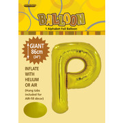 Gold Letter P Foil Supershape Balloon (34in-86cm) Pk 1