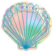 Mermaid Wishes 7in Iridescent Foil Shell Paper Plates Pk 8