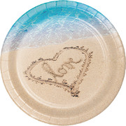 Beach Love 10in. Paper Plates Pk 8